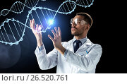 Купить «scientist in lab coat and safety glasses with dna», фото № 26520761, снято 9 марта 2017 г. (c) Syda Productions / Фотобанк Лори