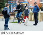 Купить «Kids skipping on chinese jumping elastic rope in yard», фото № 26530529, снято 14 декабря 2017 г. (c) Яков Филимонов / Фотобанк Лори