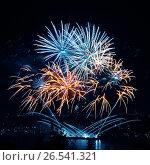 Купить «Праздничный фейерверк в ночном небе», фото № 26541321, снято 8 августа 2015 г. (c) ElenArt / Фотобанк Лори