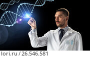 Купить «doctor or scientist in white coat with dna», фото № 26546581, снято 9 марта 2017 г. (c) Syda Productions / Фотобанк Лори