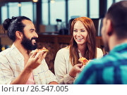 friends eating pizza with beer at restaurant, фото № 26547005, снято 8 ноября 2015 г. (c) Syda Productions / Фотобанк Лори