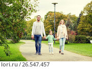 Купить «happy family walking in summer park», фото № 26547457, снято 20 сентября 2015 г. (c) Syda Productions / Фотобанк Лори
