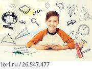 Купить «smiling boy with tablet pc and notebook at home», фото № 26547477, снято 24 октября 2015 г. (c) Syda Productions / Фотобанк Лори