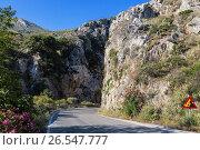 Дорога в горах Крита, Греция, фото № 26547777, снято 6 июня 2017 г. (c) Наталья Волкова / Фотобанк Лори