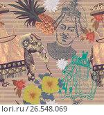Seamlwss vintage pattern with indian elephant, pineapple, flowers, maharajah head. Стоковая иллюстрация, иллюстратор Irene Shumay / Фотобанк Лори