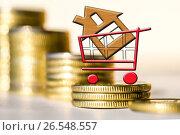 Купить «Cимвол  недвижимости на фоне денег», фото № 26548557, снято 23 марта 2017 г. (c) Сергеев Валерий / Фотобанк Лори