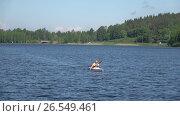 Мужчина плывет на байдарке по озеру  Ванаявеси. Хамеенлинна, Финляндия (2017 год). Редакционное видео, видеограф Виктор Карасев / Фотобанк Лори