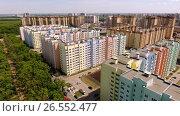 Купить «Aerial view of new housing estate in the russian city - Voronezh. 4K», видеоролик № 26552477, снято 12 июня 2017 г. (c) ActionStore / Фотобанк Лори