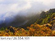 Купить «Misty dawn over mountains», фото № 26554101, снято 18 октября 2018 г. (c) Яков Филимонов / Фотобанк Лори