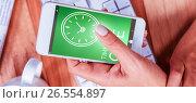 Купить «Composite image of digitally generated image of time to give text with clock icon», фото № 26554897, снято 27 марта 2019 г. (c) Wavebreak Media / Фотобанк Лори