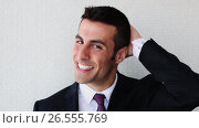 Купить «happy smiling businessman or man in suit», видеоролик № 26555769, снято 26 июня 2019 г. (c) Syda Productions / Фотобанк Лори