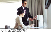 Купить «business team with papers and tablet pc at hotel», видеоролик № 26555781, снято 25 июня 2019 г. (c) Syda Productions / Фотобанк Лори