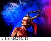 Купить «Mad satan woman on black magic ritual of in hell.», фото № 26556113, снято 23 марта 2017 г. (c) Gennadiy Poznyakov / Фотобанк Лори