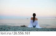 Купить «Young happy woman on the european beach in Monterosso, Cinque Terre in Italy. SLOW MOTION», видеоролик № 26556161, снято 15 июня 2017 г. (c) Дмитрий Травников / Фотобанк Лори