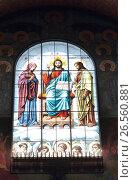Купить «Витраж с изображением Иисуса Христа в Никольском Морском соборе», эксклюзивное фото № 26560881, снято 20 мая 2017 г. (c) Дмитрий Неумоин / Фотобанк Лори