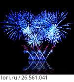 Купить «Beautiful fireworks in a night sky», фото № 26561041, снято 9 августа 2015 г. (c) ElenArt / Фотобанк Лори