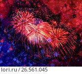 Купить «Beautiful fireworks in a night sky», фото № 26561045, снято 8 августа 2015 г. (c) ElenArt / Фотобанк Лори