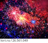 Купить «Beautiful fireworks in a night sky», фото № 26561049, снято 8 августа 2015 г. (c) ElenArt / Фотобанк Лори