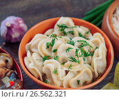 Купить «russian food pelmeni», фото № 26562321, снято 20 июня 2017 г. (c) Ольга Сергеева / Фотобанк Лори