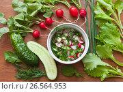Купить «Салат из молодой зелени, красного редиса и огурцов. Полезная витаминная летняя еда», фото № 26564953, снято 20 июня 2017 г. (c) Виктория Катьянова / Фотобанк Лори