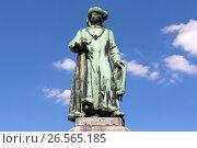 Купить «Памятник художнику Ян ван Эйку в Брюгге, Бельгия», фото № 26565185, снято 10 июня 2017 г. (c) Ирина Яровая / Фотобанк Лори