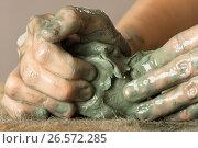 Купить «Руки керамиста с голубой глиной», фото № 26572285, снято 29 марта 2016 г. (c) Павел Родимов / Фотобанк Лори
