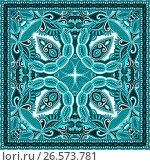 Paisley bandanna to print on fabric. Стоковая иллюстрация, иллюстратор Олеся Каракоця / Фотобанк Лори