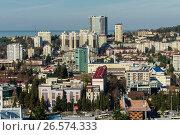 Купить «Сочи, вид сверху на городскую застройку в Центральном районе», фото № 26574333, снято 25 августа 2019 г. (c) glokaya_kuzdra / Фотобанк Лори