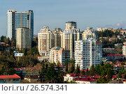 Купить «Сочи, вид сверху на городскую застройку в Центральном районе», фото № 26574341, снято 25 августа 2019 г. (c) glokaya_kuzdra / Фотобанк Лори