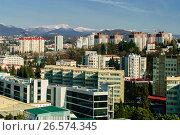Купить «Сочи, вид сверху на городскую застройку в Центральном районе», фото № 26574345, снято 25 августа 2019 г. (c) glokaya_kuzdra / Фотобанк Лори