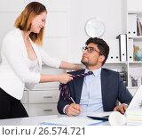 Купить «Business couple flirting in office», фото № 26574721, снято 1 июня 2017 г. (c) Яков Филимонов / Фотобанк Лори