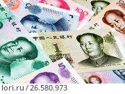 Купить «Китайские деньги достоинством от 1 до 100 юаней», фото № 26580973, снято 26 мая 2011 г. (c) Александр Гаценко / Фотобанк Лори