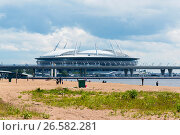 Купить «Вид на стадион Санкт-Петербург арена с пляжа парка 300-летия Санкт-Петербурга», эксклюзивное фото № 26582281, снято 25 июня 2017 г. (c) Александр Щепин / Фотобанк Лори