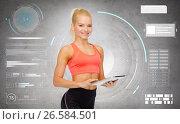 Купить «happy sporty woman with tablet pc computer», фото № 26584501, снято 8 мая 2014 г. (c) Syda Productions / Фотобанк Лори