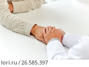Купить «close up of doctor holding old man hand», фото № 26585397, снято 7 июля 2016 г. (c) Syda Productions / Фотобанк Лори