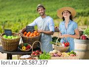 Smiling friends selling fruits and vegetables. Стоковое фото, агентство Wavebreak Media / Фотобанк Лори
