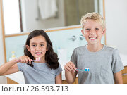 Купить «Siblings brushing their teeth in bathroom», фото № 26593713, снято 26 января 2017 г. (c) Wavebreak Media / Фотобанк Лори