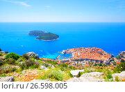 Купить «Dubrovnik and Lokrum island», фото № 26598005, снято 12 июня 2017 г. (c) Роман Сигаев / Фотобанк Лори