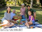 Купить «Portrait of happy family having picnic in the park», фото № 26598861, снято 2 марта 2017 г. (c) Wavebreak Media / Фотобанк Лори