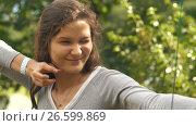 Купить «Woman making funny face after shooting an arrow», видеоролик № 26599869, снято 21 июня 2017 г. (c) Илья Шаматура / Фотобанк Лори