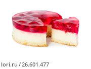 Купить «Cheesecake with raspberry jelly», фото № 26601477, снято 6 июня 2017 г. (c) Наталия Пыжова / Фотобанк Лори