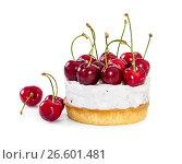 Купить «Cheesecake with fresh sweet cherries», фото № 26601481, снято 6 июня 2017 г. (c) Наталия Пыжова / Фотобанк Лори