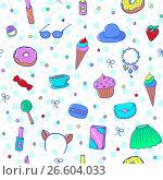 Бесшовный узор со сладостями и девичьими аксессуарами. Стоковая иллюстрация, иллюстратор Алла Ринчино / Фотобанк Лори