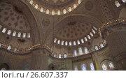 Купить «Sultanahmet Mosque interior in Istanbul Turkey», видеоролик № 26607337, снято 22 июня 2017 г. (c) Илья Насакин / Фотобанк Лори