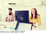 Купить «creative team with computers working at office», фото № 26607437, снято 27 февраля 2016 г. (c) Syda Productions / Фотобанк Лори