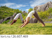 Купить «smiling couple making yoga exercises outdoors», фото № 26607469, снято 6 августа 2014 г. (c) Syda Productions / Фотобанк Лори