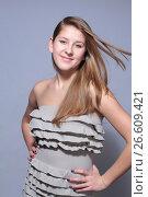 Купить «Studio shoot portrait attractive young girl», фото № 26609421, снято 27 января 2012 г. (c) Tatjana Romanova / Фотобанк Лори