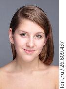 Купить «Close-up portrait of beautiful young woman», фото № 26609437, снято 27 января 2012 г. (c) Tatjana Romanova / Фотобанк Лори