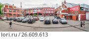 Купить «Панорама территории Винзавода - центра современного искусства», эксклюзивное фото № 26609613, снято 20 июня 2017 г. (c) Виктор Тараканов / Фотобанк Лори