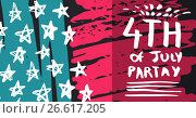 Купить «White fourth of July party graphic against hand drawn pink, blue, white and grey american flag», фото № 26617205, снято 19 марта 2019 г. (c) Wavebreak Media / Фотобанк Лори